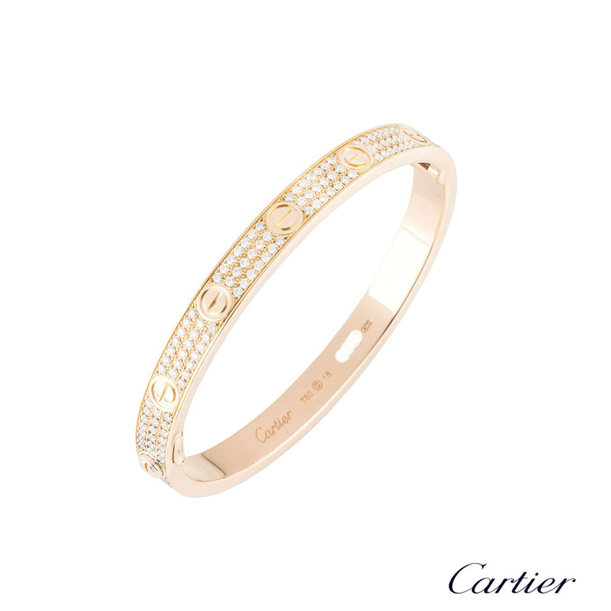5f58f6c86a8588 Cartier Rose Gold Full Pave Love Bracelet Size 18 N6036918